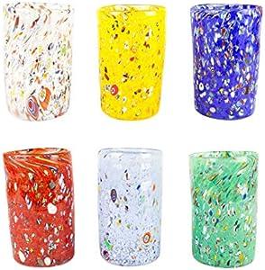 Juego de 6 vasos de cristal de Murano original OMG - Pescheria