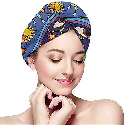 Mahada handdoek gewikkelde microvezelhoofddoek, kleurpatroon, super absorberend, sneldrogende hoofdband, droge krullen, lange haardouchekap.
