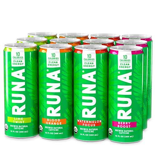 Organic Clean Energy Drink by RUNA, Variety Pack   Refreshing Tea Taste   10 Calories   Powerful Natural Caffeine   Healthy Energy & Focus   No Crash or Jitters   12 Oz (Pack of 12)