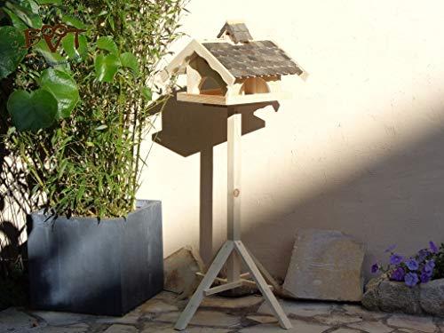 Vogelhaus,groß,mit Nistkasten,BEL-X-VONI5-at002 Großes wetterfestes PREMIUM Vogelhaus VOGELFUTTERHAUS + Nistkasten 100% KOMBI MIT NISTHILFE für Vögel WETTERFEST, QUALITÄTS-SCHREINERARBEIT-aus 100% Vollholz, Holz Futterhaus für Vögel, MIT FUTTERSCHACHT Futtervorrat, Vogelfutter-Station Farbe schwarz lasiert, anthrazit Schwarzlasur / Holz natur, MIT TIEFEM WETTERSCHUTZ-DACH für trockenes Futter - 8