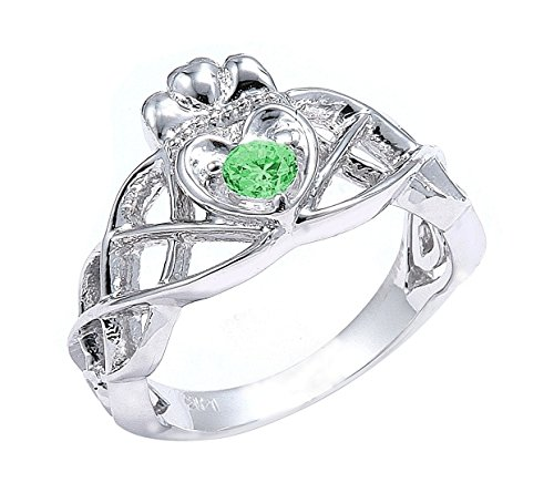 Claddagh Rings 925 Sterling Silver Solitaire Green CZ Celtic Knot (15)