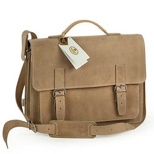 Mittel-Große Aktentasche Lehrertasche Größe M aus Leder, Creme Beige, Hamosons 605
