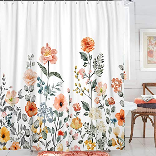 Haibimen Floar Shower Curtain, Boho Shower Curtains for Bathroom, Watercolor Flowers and Leaves Curtains with 12 Hooks