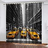 BWBJJ Cortina Salon Moderna Taxi de Nueva York Ojales Opaca Cocina Dormitorio Moderno Aislante termica Ventana habitacion niño oscurecimiento 70x260 cm x 2 Panel