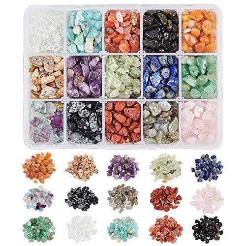 NBEADS 1 Caja de Perlas de Piedras Preciosas, 15 Piedras Naturales de Forma Irregular Pepita Suelta Cuentas Piedra Energética para la Fabricación de Joyas, 5-10mm