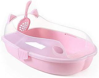 猫用トイレ本体 猫のオープントイレのトレイ透明オープンフード付きパントイレトイレ漫画のデザイン 適当な容量、快適に使える (色 : ピンク, サイズ : 55.8*22.8*40cm)