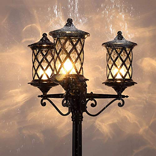 Outdoor Street Light, 3 PineHead High Pole Landscape Street Light Outdoor Waterproof Courtyard Garden Community Post Lantern European Villa Home Vintage E27 Courtyard Lighting