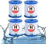 ERTLKP Para cartuchos de filtro de piscina Intex tipo H, para filtro de piscina Intex 29007 tipo H, para bombas de filtro 28601,28602, para piscina Whirlpool tipo H (paquete de 4)