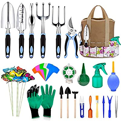 82 Pcs Garden Tools Set, Extra Succulent Tools Set, Heavy Duty Gardening Tools Aluminum with Soft Rubberized Non-Slip Handle Tools, Durable Storage Tote Bag, Gifts for Men