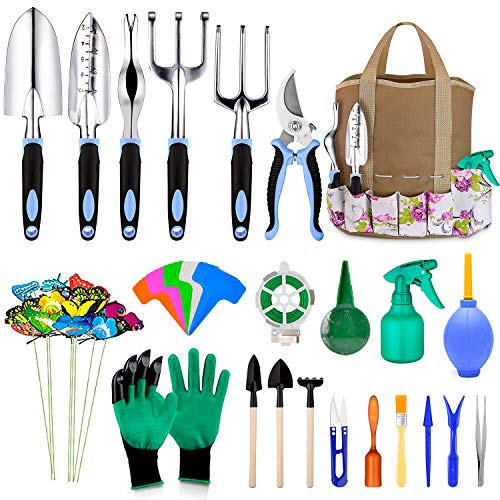 82 Pcs Garden Tools Set Extra Succulent Tools Set Heavy Duty Gardening Tools Aluminum with Soft Rubberized NonSlip Handle Tools Durable Storage Tote Bag Gifts for Men Blue