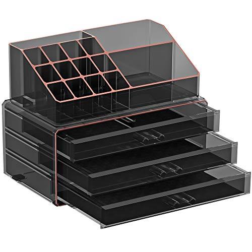 SONGMICSMake-up Organizer,Kosmetik-Organizer mit 3 Schubladenund 15 Fächern in unterschiedlichen Größen,transparentes Schwarz-RoségoldJKA002B01