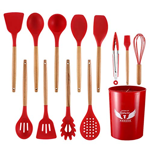 Silicone Cooking Utensils Set 12pcs Kitchen Gadgets with Utensil Holder Sets Heat Resistant Silicone Spatula Cookware Tools Wooden Handles Pioneer Woman Kitchen Accessories Red