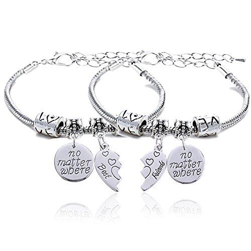 """Set di 2 braccialetti per migliori amici, ciascuno con 1 ciondolo con scritta in lingua inglese: """"No Matter Where"""", regalo per un'amicizia speciale."""