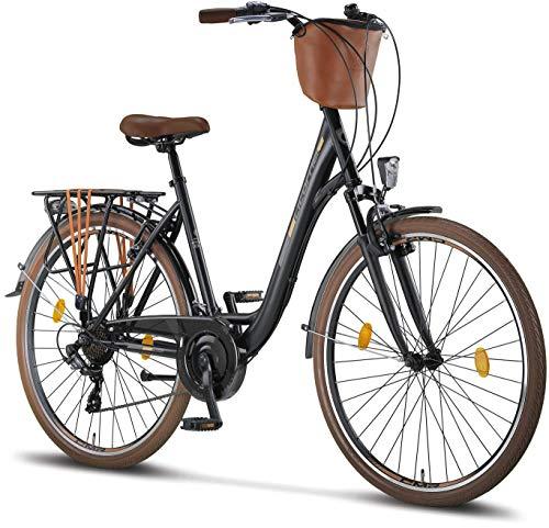 Licorne Bike Violetta, Donna, 28' da 160 cm, Bicicletta Bici Citybike CTB Donna Vintage Retro, Luce Bici, Cambio Shimano 21 velocità, City Bike da Donna, Bici da Donna,Bici da Città, Nero