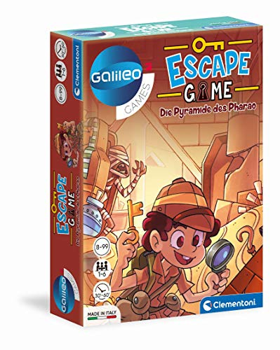 Clementoni 59230 Escape Game – Die Pyramide des Pharao, spannendes Gesellschaftsspiel zum Knobeln & Rätseln, inkl. Hinweiskarten und Requisiten, Familienspiel ab 8 Jahren