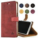 Snakehive Hülle kompatibel für iPhone 7 / Handy Schutzhülle/Klapphülle echt Lederhülle mit Standfunktion, Handmade in Europa -(Burgund)