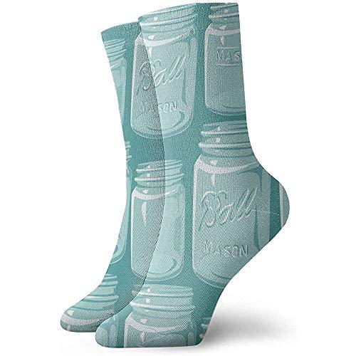 Calcetines informales divertidos con estampado de arte de tarros de albail para mujer