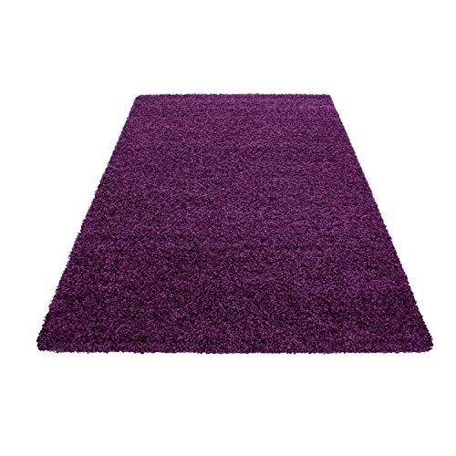 Teppich Hochflor Shaggy Teppich Unicolor einfarbig Teppich farbecht Pflegeleicht, Maße:60 cm x 110 cm, Farbe:Violett