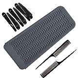 YuCool - Bolsa de silicona resistente al calor, herramientas de peinado de pelo con 2 peines de cola y 6 clips para alisador de cabello, plancha de rizado, rizador de pelo,color negro