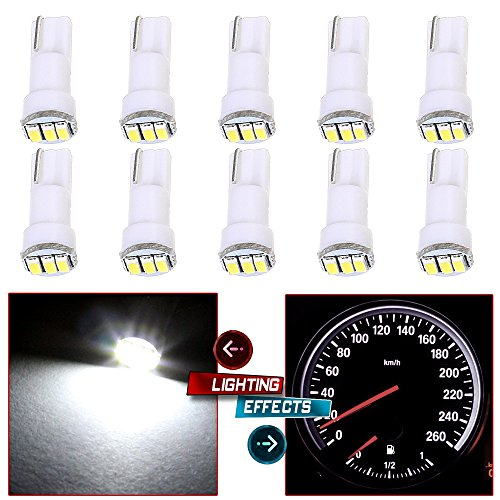 cciyu 10 Pack White T5 73 Wedge 3-3014SMD Instrument Gauge Dash Light LED Bulbs