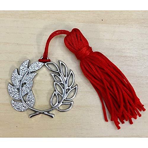 Colgante de graduación con corona de laurel de metal con borla para bombonera.