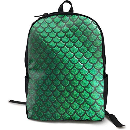 XCNGG NiYoung Casual Large College School Daypack - Laptop Outdoor Backpack Bright Green Pastel Mermaid Scales Style Backpack