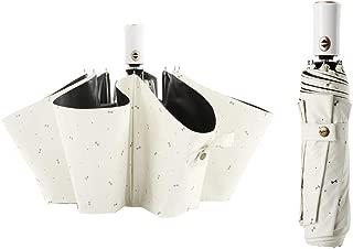 Women's Auto Open Close Umbrella, Mini Compact Travel Umbrella, with Reinforced Teflon Coating, 3 Folding Large Canopy Windproof Anti-UV, Beige and White