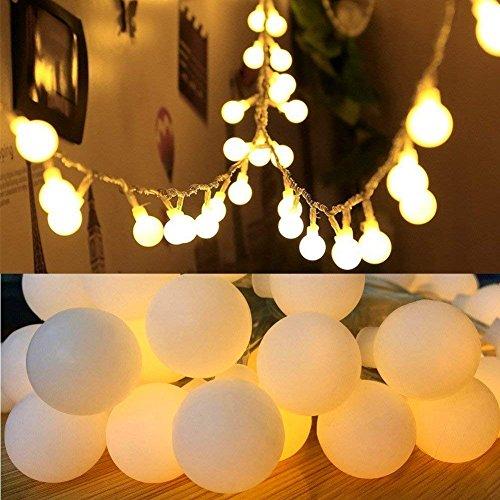 Globo - Luci a forma di fata, 30 m, 50 LED, funzionamento a batteria, luci stellate, per casa, feste, compleanno, giardino, festival, matrimoni, interni ed esterni, colore bianco caldo