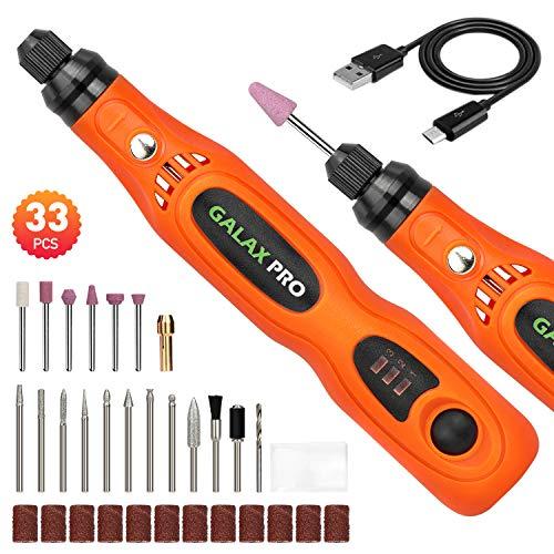 GALAX PRO Amoladora Eléctrica Mini, Herramienta Rotativa USB Recargable con 3 Velocidad Variable 5,000-15,000RPM y 32PCS Accesorios para los DIY Trabajos de Pulido Abrasivo y Corte