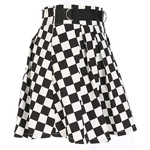 PINKE Falda Plisada A Cuadros En Blanco Y Negro De Las Mujeres Anillo De Metal Cintura Decoración Coreana Mini Falda Estilo Harajuku Danza Falda A Cuadros De Cintura Alta(L)