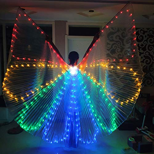 KimCC LED Butterfly Wings Tanz Fee Eröffnung Bauchtanz Sticks Rods-Wings LED Luminous Light Up Bühnen Performance Requisiten Performance Bekleidung Karneval