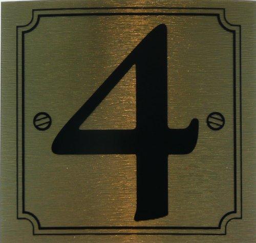 eCobbler Metalic Stick On Door Numbers 0 To 9In Gold - Number 4 by eCobbler