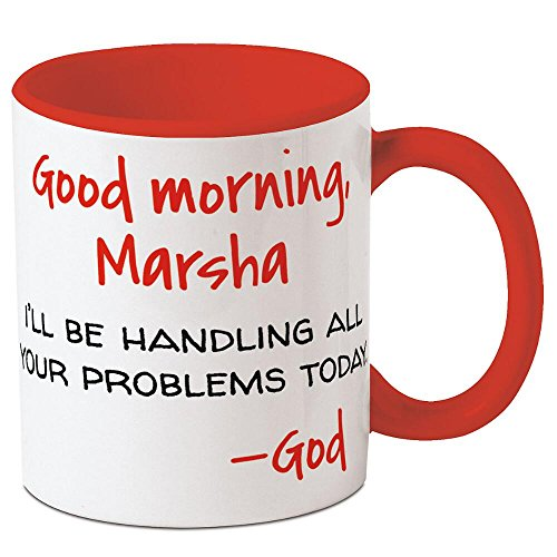 CURRENT Good Morning from God Personalized Ceramic Mug - Large 11 Ounce Size, Religious Novelty Mugs, Add a Name, Microwave and Dishwasher Safe Cup, Customizable Gifts for Friends