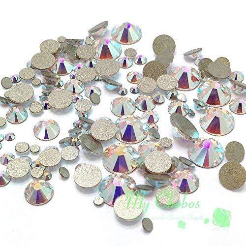 144 pieces Mixed Sizes Swarovski 2058 Xilion / NEW 2088 Xirius Flatbacks No-Hotfix CRYSTAL AB (001 AB) nail art**FREE Shipping from Mychobos (Crystal-