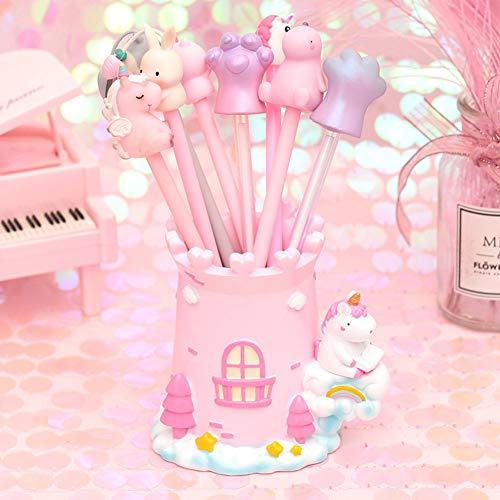 Lindo sostenedor de la pluma del unicornio, organizador de papelería del sostenedor del cepillo del maquillaje, caja de almacenamiento del sostenedor de la pluma decorativa de escritorio