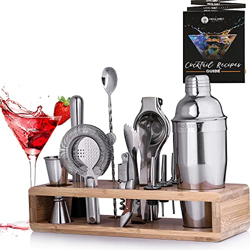 Mixology Bartender Kit with Stand - 24 oz Professional Cocktail Shaker Set - Home Bar Set Cocktail Shaker 12 Pieces Barware Set with Recipes Booklet - Best Gift for Cocktail Lovers