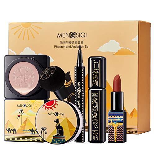 Allbestaye 6pcs Make-up Sets Foundation Liquid Cushion Loose Powder Eyeliner Mascara Lipstick