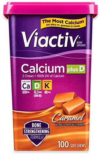 Viactiv Calcium +D Supplement Soft Chews, Caramel, 100-Count