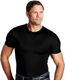 Insta Slim ISPRO Slimming Crew-Neck Short Sleeve Top Shapewear Compression Shirt for Men Black