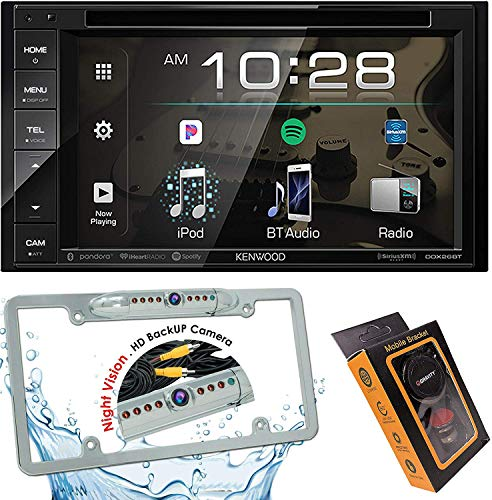 Kenwood DDX26BT Double DIN SiriusXM Ready Bluetooth in-Dash DVD/CD/AM/FM Car Stereo Receiver w/ 6.2' Touchscreen + License Backup Camera Included + Gravity Magnet Phone Holder