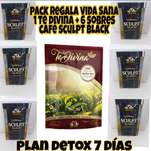 Pack Regala Vida Sana DETOX DIVINA. 1 TE DIVINA+6 SOBRES CAFE SCULPT BLACK