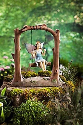 Dekofigur Fee auf Schaukel Süße Garten Terrasse Figur Dekoration aus Kunststein