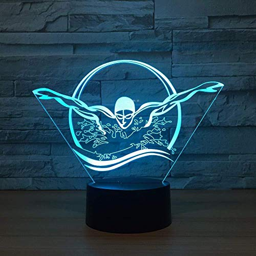 xcdfr Night Light Swimming Athletes 3D Led Night Light Indoor Light 7 Color Change Remote Touch Sensor Light USB Table Lamp for Friend Best Gift