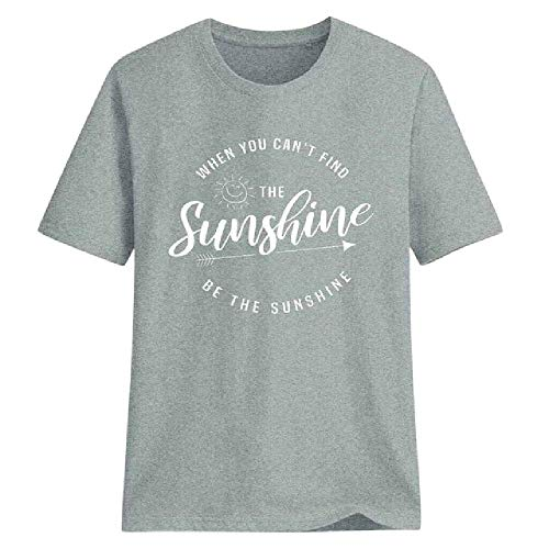 Personalisierte Mode Kleidung T-Shirt Frauen The Sunshine Alphabet Printing Kurzarm-T-Shirt Solid Color Tops Sommer