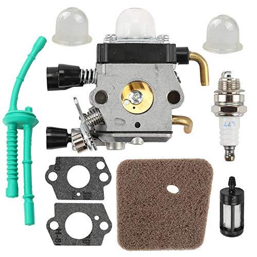 KKmoon Kit Carburador con Filtro de Aire, Línea de Combustible, Juntas, Bujía para STIHL FS38 FS45 FS46 FS55 KM55 FS85