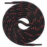 Mount Swiss runde Premium-Schnürsenkel für Arbeitsschuhe, Wanderschuhe und Trekkingschuhe - Polyester - ø 4,5 mm - sehr reißfest - Farbe Schwarz-Rot Länge 170cm