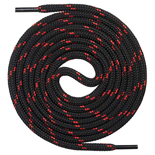 Mount Swiss runde Premium-Schnürsenkel für Arbeitsschuhe, Wanderschuhe und Trekkingschuhe - Polyester - ø 4,5 mm - sehr reißfest - Farbe Schwarz-Rot Länge 150cm