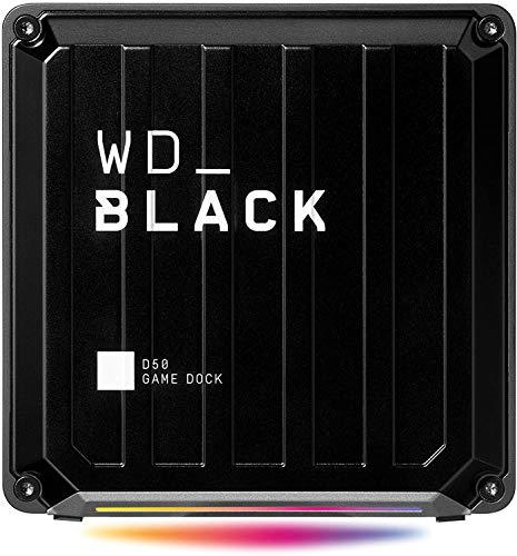 WD_Black D50 Game Dock (2x Th&erbolt 3 Anschlüsse, BildschirmPort 1.4, 2x USB-C, 3x USB-A, Audio Ein/Aus & Gigabit Ethernet anpassbare RGB-Beleuchtung) schwarz