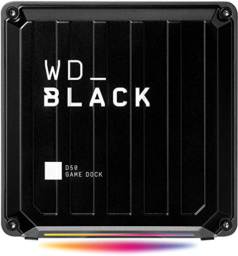 WD_BLACK D50 Game Dock. 2 x ports Thunderbolt 3, DisplayPort 1.4, 2 x ports USB-C, 3 x ports USB-A, entrée/sortie audio, et Gigabit Ethernet; éclairage RVB personnalisable