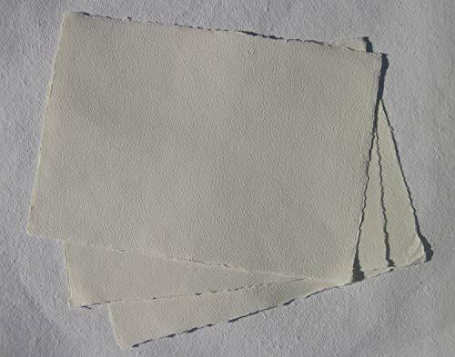 handgeschöpftes Büttenpapier Aquarellpapier A2 10 Bogen/Set extrastark 300g/m² softvanilla (offwhite, ecru) BaumwollLinters (AE302)